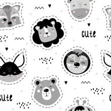 Cute Seamless Scandinavian Patterns With Animals