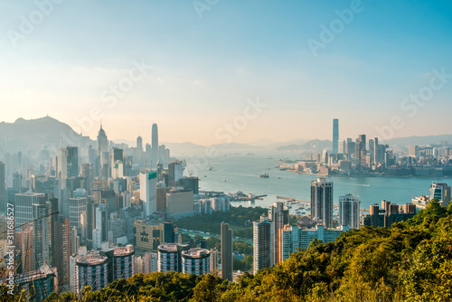 Hong Kong City skyline , and Kowloon and HongKong Island - Canvas Print