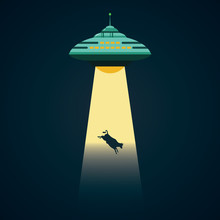 UFO Abducts A Cow Cartoon Vect...
