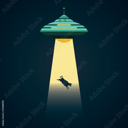Photo UFO abducts a cow cartoon vector illustration
