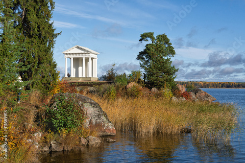 Newly restored Temple of Neptune in Monrepos park. Canvas Print