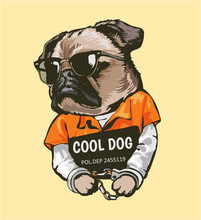Cartoon Pug Dog In Prison Costume With Sign Illustration
