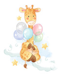 Fototapeta Fototapety na ścianę do pokoju dziecięcego - cartoon giraffe with colorful balloons illustration
