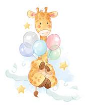 Cartoon Giraffe With Colorful Balloons Illustration