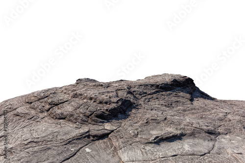 Cliff stone located part of the mountain rock isolated on white background.