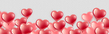Happy Valentines Day. Gel Balls-hearts Red And Pink. Horizontal Banner With Place For Text. For Happy Birthday, International Women S Day. Isolated On A Transparent Background. Vector Illustration