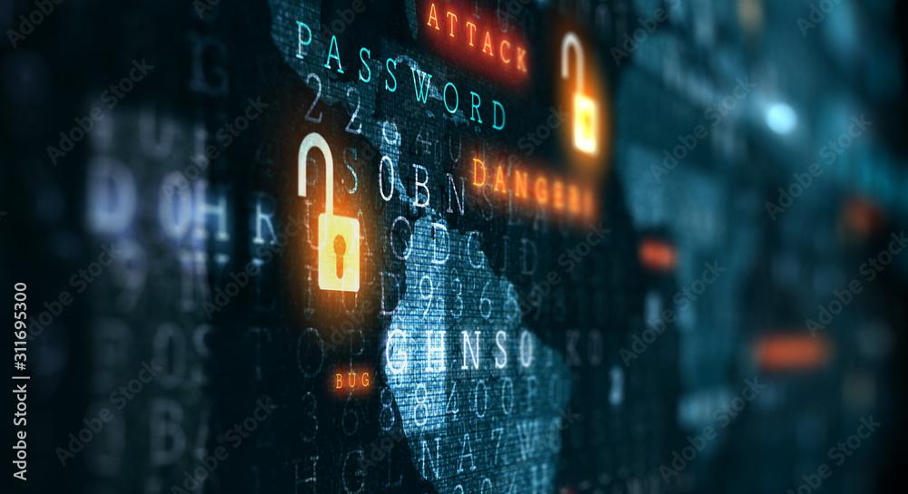Fototapeta Danger of hack attack . Mixed media