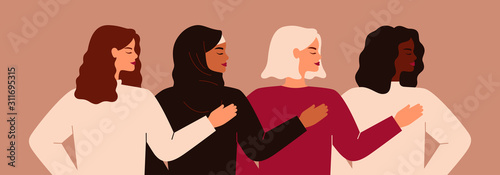 Obraz Four young strong women or girls standing together. Group of friends or feminist activists support each other. Feminism concept, girl power poster, international women's day holiday card. Vector - fototapety do salonu