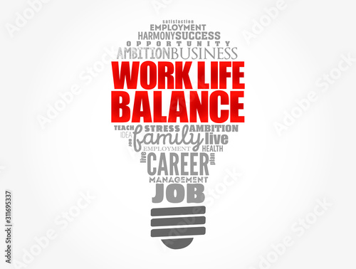Photo Work Life Balance light bulb word cloud collage, concept background