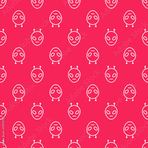 Photo White line Alien icon isolated seamless pattern on red background