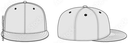Fotografia Baseball cap template vector illustration / white