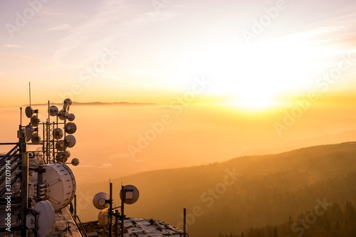 Fotografie, Tablou Mountain hotel Jested above the city of Liberec