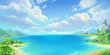 Leinwanddruck Bild - Sea Town, Seaside, Beach and Coast. Fantasy Backdrop. Concept Art. Realistic Illustration. Video Game Digital CG Artwork Background. Natural Scenery.