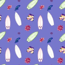 Shortboards For Surfing, Flowers, Shorts And Fins. Seamless Watercolor Pattern For Surf Design.