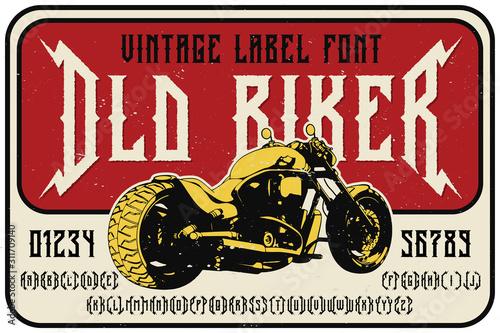 Fototapeta Vintage label font named Old Biker