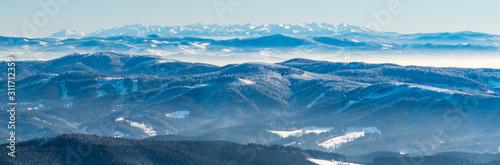 Fototapeta Tatra mountains from Lysa hora hill in Moravskoslezske Beskydy mountains in Czech republic obraz