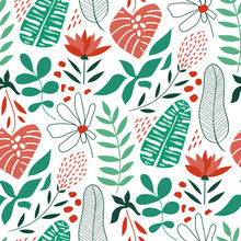 Vector Seamless Tropical Pattern