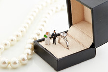 Pearl Necklace And Ring With W...