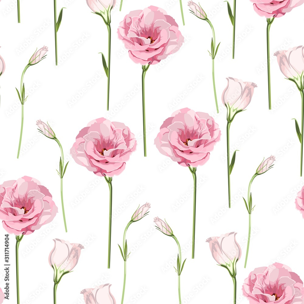 Floral Seamless Pattern with pink eustoma spring flowers and leaves. Spring Blooming Flowers on white Background.
