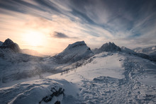 Sunrise Over Snowy Mountains O...