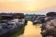 Natural Of Rock Canyon In Mekong River In Ubon Ratchathani, Thailand