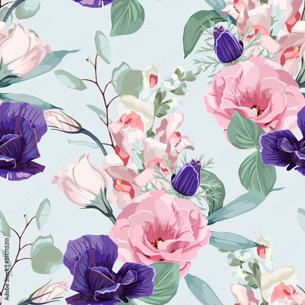Floral Seamless Pattern with pink eustoma, eucaliptus, anemones, spring flowers and leaves. Spring Blooming Flowers on mint Background.