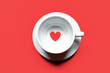canvas print picture - Top view of coffee cup with heart