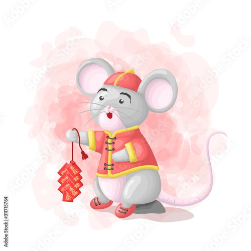 cartoon-cute-mouse-chinski-nowy-rok