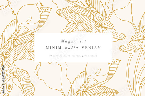 Carta da parati Vintage card with calla lily flowers