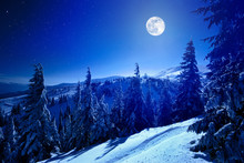 Full Moon Over Winter Deep For...