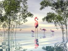 Flock Of Flamingos Among Bamboos - 3D Render