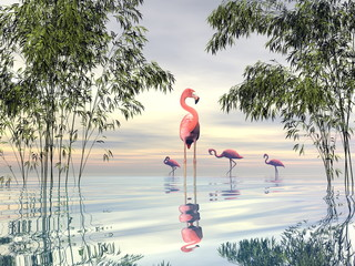 Panel Szklany Zwierzęta Flock of flamingos among bamboos - 3D render