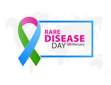 Three-color Ribbon For The World Rare Disease Day On 28 Of February. On A World Map Background.