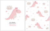 Fototapeta Dinusie - Hello Princess. Cute Simple Dino Illustration with White Fluffy Smiling Clouds and Stars on a White Background. Simple Nursery Art for Baby Girl. Print with Pink Dinosaur Princess, Clouds and Stars.