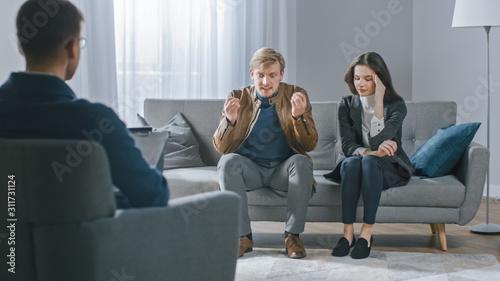 Young Couple on Counseling Session with Psychotherapist Slika na platnu