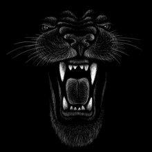 The Vector Logo Animal For Tattoo Or T-shirt  Print Design Or Outwear.  Hunting Style Animals Background.