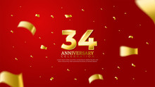34th Anniversary Celebration Vector Red Background. Golden Numbers With Shadow And Sparkling Confetti Modern And Elegant Design For Wedding Party Event Decoration. Editable Vector EPS 10
