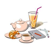 Coffee Break, Lunch, Breakfast, Croissant, Cup, Glass Of Lemonade, Notebook .