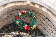 Decoration For The Celebration Of Christmas And New Year On The Wall Of The Building Near To Jaffa Gate In The Old City In Jerusalem, Israel
