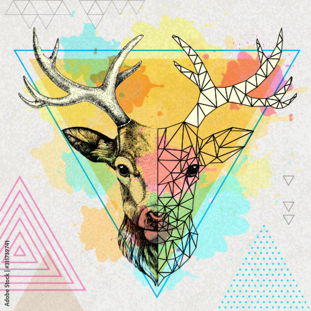 Hipster zwierząt realistyczne i wielokątne jelenie na artystycznym tle akwarela