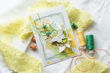 Yellow And Green Scrapbooking Greeting Card With Flowers, Butterfly, Bird. Spring Concept. Greeting Cards For Wedding Or Other Festive Decorations . Tools For Scrapbooking.