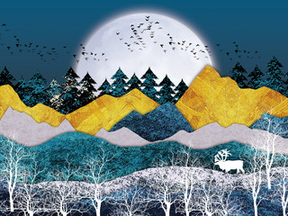 Obraz na Szkle Góry 3d mural wallpaper with gray background golden mountains and white moon . white tree, black birds, deer with antlers and . flat modern background for kids room . Suitable for use as a frame on walls