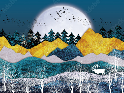 Murale ścienne  3d-mural-wallpaper-with-gray-background-golden-mountains-and-white-moon-white-tree-black-birds-deer-with-antlers-and-flat-modern-background-for-kids-room-suitable-for-use-as-a-frame-on-walls