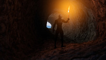 3d Illustration Of A Reptilian Humanoid Holding A Burning Torch In A Cave