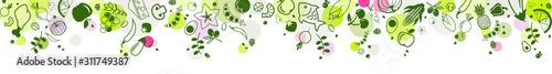 Fotografía  healthy & colourful food banner 1 – top border - vector illustration