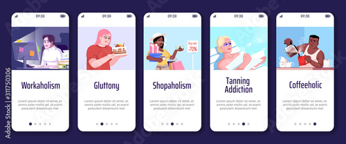 Photo Addiction onboarding mobile app screen vector template