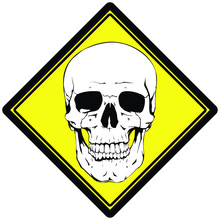 Caution Symbol.Toxic And Poisonous Sticker. Yellow Label With White Skull.