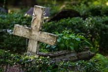 Old Cross In Graveyard