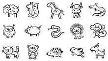 Set Of Small Sketchy Animals, ...