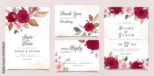 Wedding invitation card template set with flowers arrangements. Roses and leaves botanic illustration for background, save the date, invitation, greeting card, poster vector